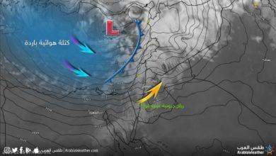 صورة للاقمار الصناعية عن تراكم الغيوم للمنخفض الجوي فوق الاردن