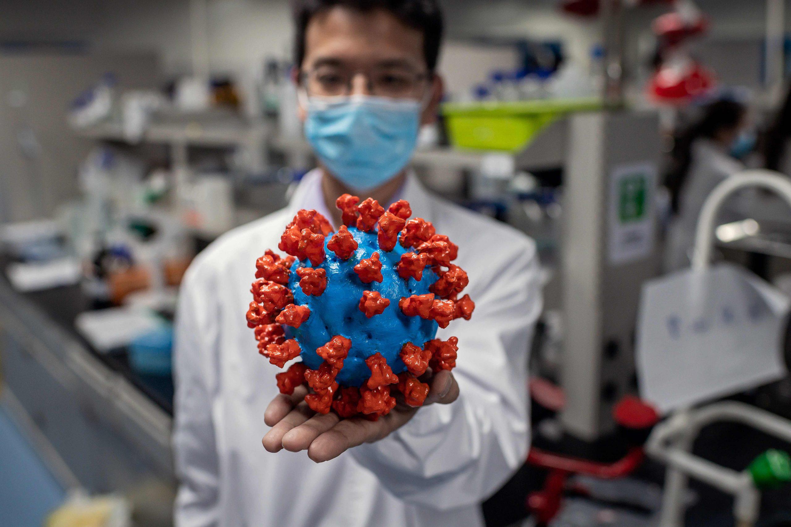 """أحد العلماء المشاركين في تطوير واختبار لقاح فيروس كورنا المستجد يعرض نموذجا بلاستيكيا للفيروس في """"سينوفاك بايوتك"""" أحد المختبرات الصينية الأربعة المجازة إجراء التجارب السريرية- ا ف ب"""
