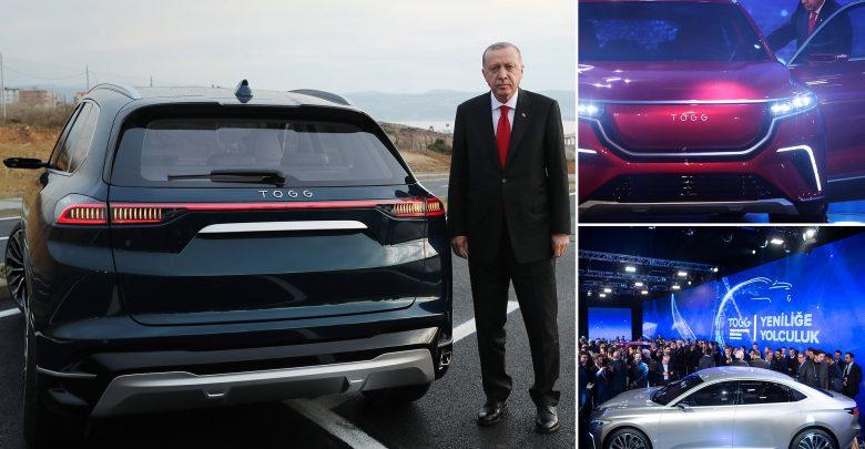 لرئيس التركي، رجب طيب أردوغان مع السيارة التركية TOGG